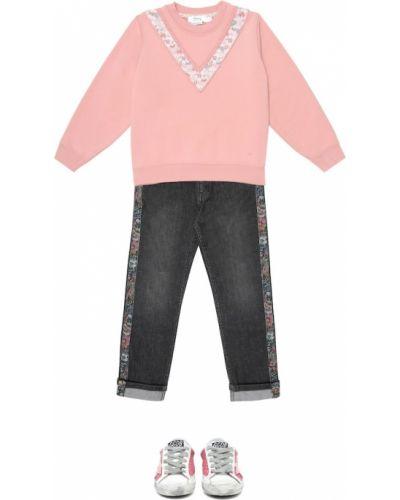 Кружевной розовый хлопковый свитшот Bonpoint