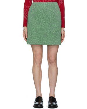 Плиссированная зеленая юбка мини стрейч жаккардовая Namacheko
