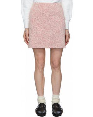 Плиссированная белая юбка мини стрейч жаккардовая Namacheko