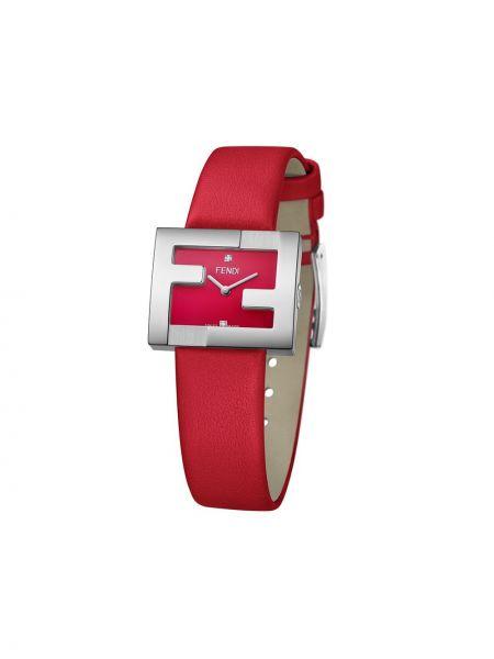 Szary zegarek na skórzanym pasku skórzany z diamentem Fendi