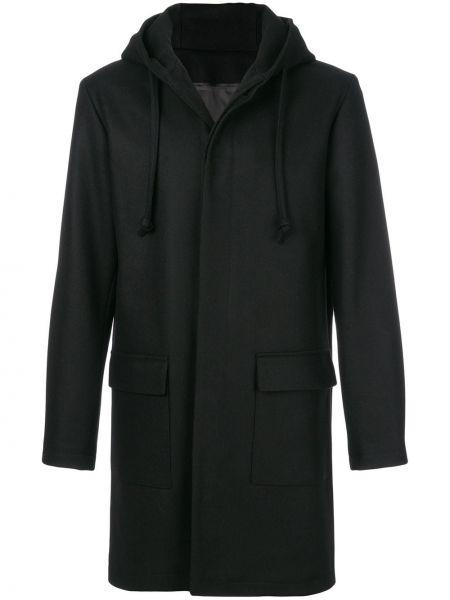 Черное шерстяное длинное пальто на шнурках Harmony Paris