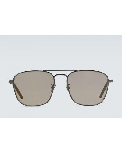 Chudy brązowy oprawka do okularów metal plac Saint Laurent