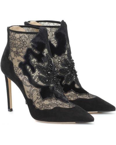 Ażurowy skórzany czarny buty na sznurowadłach Jimmy Choo