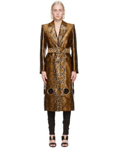Черное длинное пальто с воротником с карманами Versace
