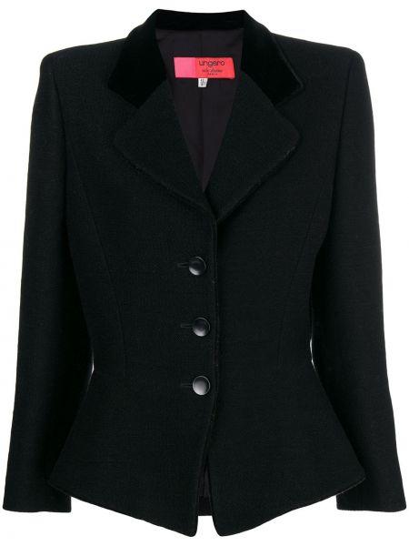 Черный приталенный классический пиджак винтажный на пуговицах Emanuel Ungaro Pre-owned