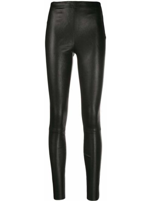 Облегающие кожаные черные леггинсы Alice+olivia