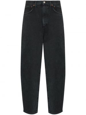 Bawełna bawełna czarny jeansy na wysokości z kieszeniami Agolde