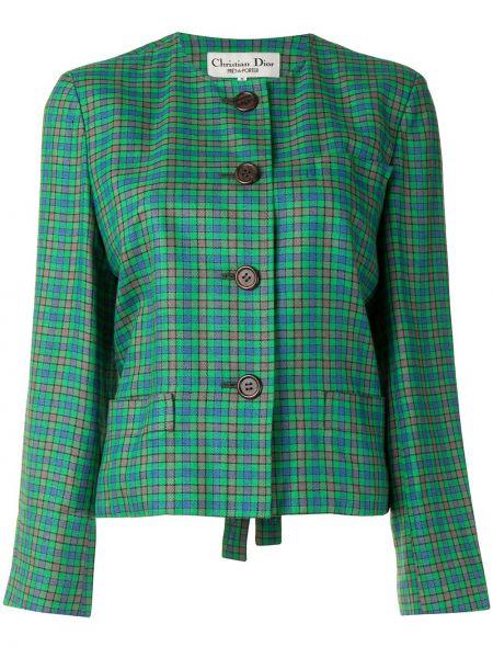 Jednorzędowy z rękawami zielony długa kurtka z kieszeniami Christian Dior