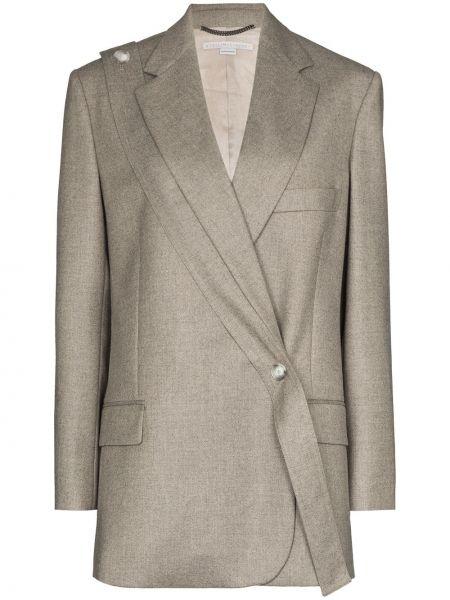 Серый шерстяной пиджак с карманами с лацканами Stella Mccartney