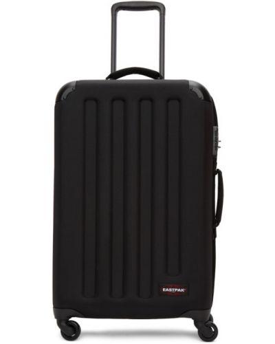 Włókienniczy czarny walizka prążkowany z łatami Eastpak