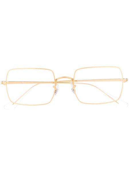 Желтые очки для зрения прямоугольные металлические Ray-ban