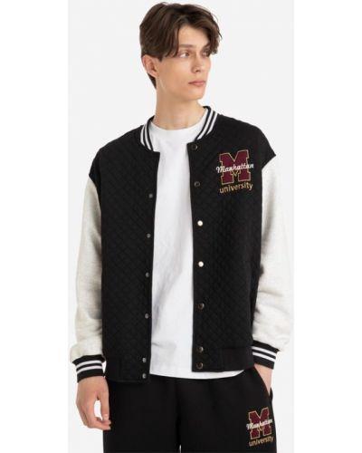 Черная университетская куртка Gloria Jeans