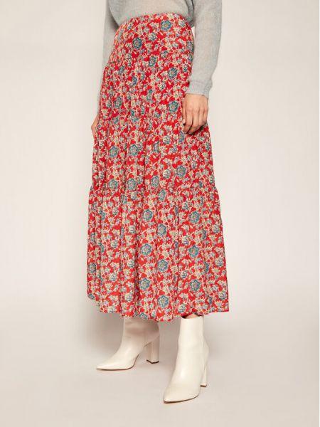 Długa spódnica - czerwona Lauren Ralph Lauren