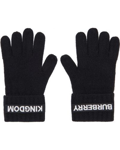 Z kaszmiru czarne rękawiczki z haftem Burberry