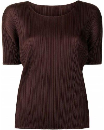 Блузка с короткими рукавами - коричневая Pleats Please Issey Miyake