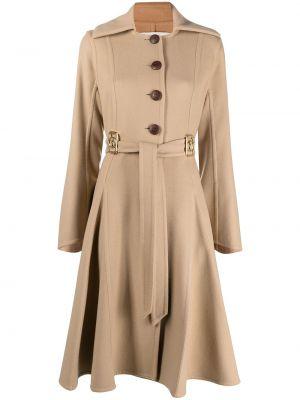 Бежевое кашемировое длинное пальто с воротником Lanvin