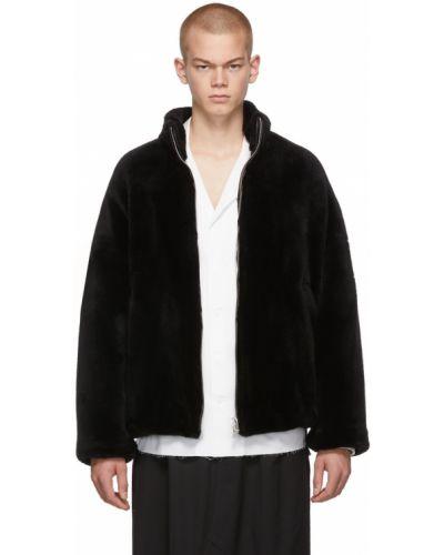 Czarna długa kurtka srebrna z długimi rękawami Sulvam