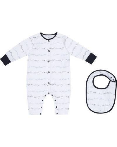 Biały bawełna bawełna śliniak Emporio Armani Kids