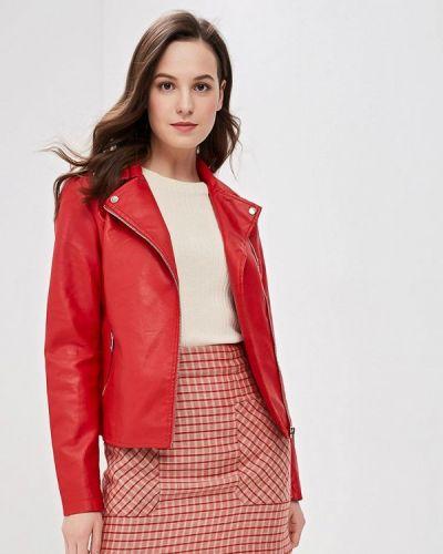 Кожаная куртка весенняя красный Adrixx
