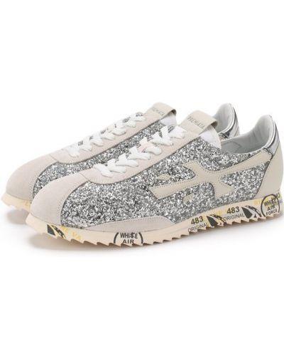 Кроссовки с глиттером серебряного цвета Premiata