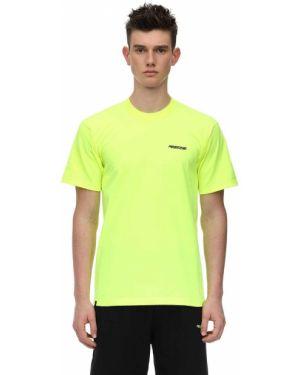 Prążkowany żółty t-shirt bawełniany Tres Rasche