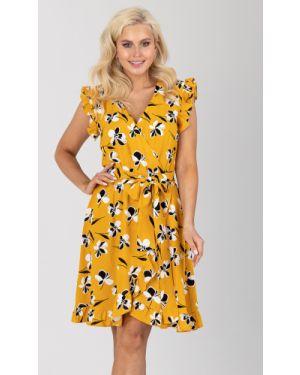 Платье с поясом с запахом из штапеля Liza Fashion