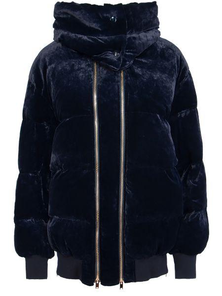 Шелковая синяя куртка с капюшоном на молнии с карманами Stella Mccartney