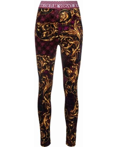 Legginsy - fioletowe Versace Jeans Couture