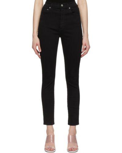 Czarne jeansy rurki z wysokim stanem bawełniane Agolde