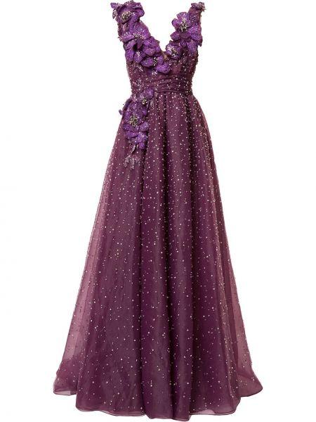 Фиолетовое платье с V-образным вырезом на молнии Marchesa