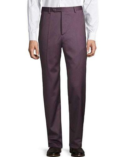 Фиолетовые шерстяные классические брюки с карманами Zanella
