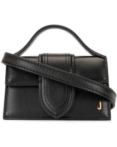 Золотистая кожаная черная маленькая сумка Jacquemus