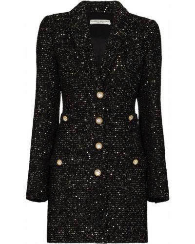 Шерстяное черное платье мини с подкладкой Alessandra Rich