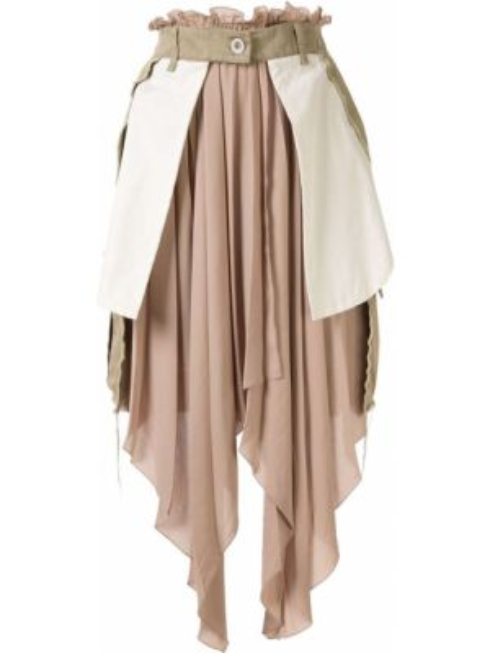 Хлопковая коричневая асимметричная с завышенной талией юбка Unravel Project