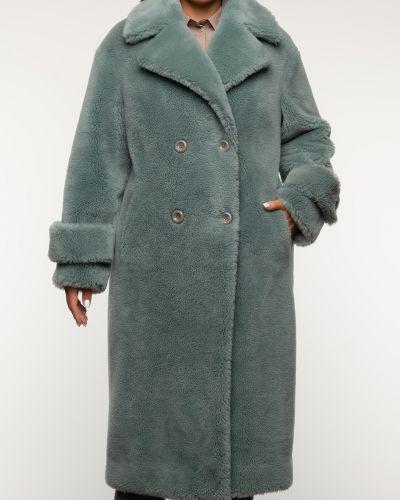 Зеленое шерстяное пальто с воротником Aliance Fur