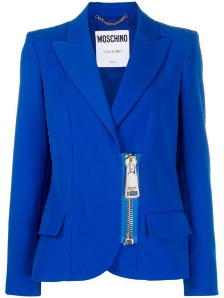 Синий удлиненный пиджак на пуговицах с лацканами Moschino