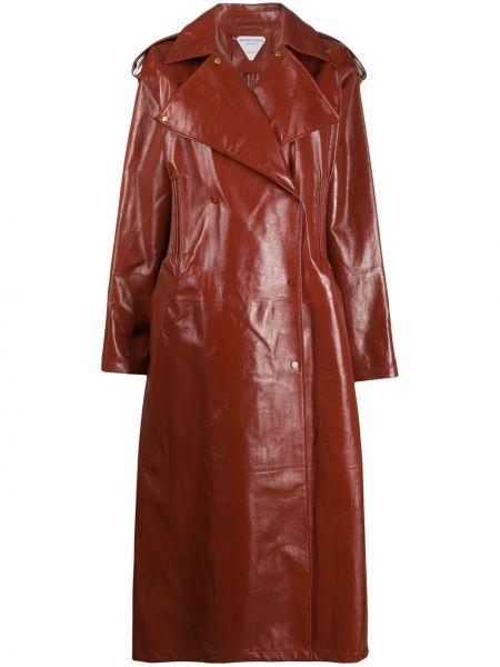 Кожаное с рукавами кожаное пальто на пуговицах свободного кроя Bottega Veneta