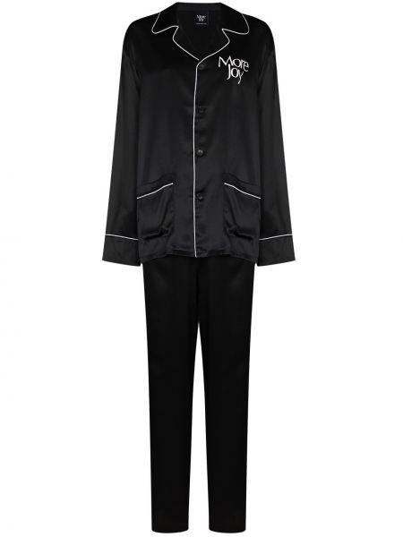 Czarna piżama z jedwabiu More Joy