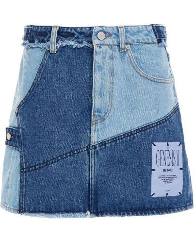 Niebieska spódnica jeansowa z paskiem bawełniana Mcq Alexander Mcqueen