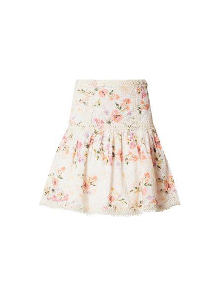 Różowy spódnica mini z haftem z zamkiem błyskawicznym prążkowany Guess