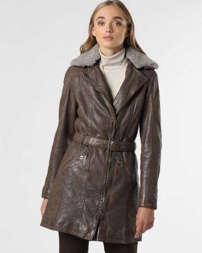 Płaszcz skórzany - beżowy Gipsy