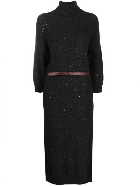 Шелковое вязаное платье макси с длинными рукавами Brunello Cucinelli