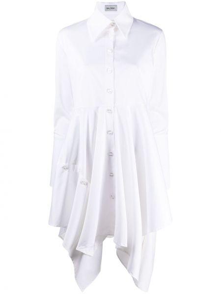 Платье макси с длинными рукавами с драпировкой на пуговицах с манжетами Balossa White Shirt