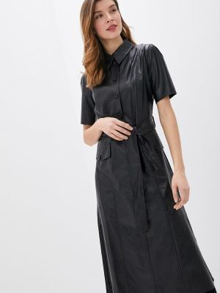 Платье кожаное черное Rinascimento