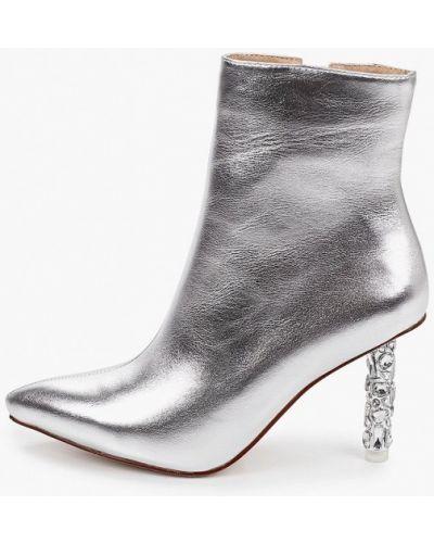 Серебряные кожаные ботильоны с острым носом Diora.rim