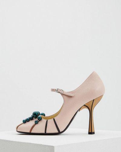 Кожаные туфли на каблуке для офиса Marni