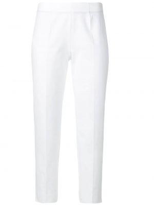 Хлопковые белые укороченные брюки со складками Piazza Sempione
