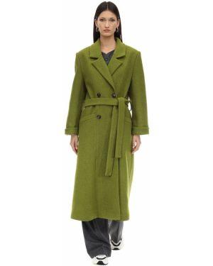 Zielony płaszcz wełniany z paskiem Lesyanebo