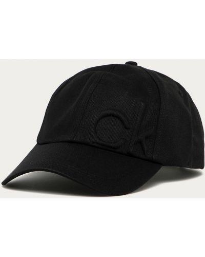 Czarny kapelusz bawełniany Calvin Klein