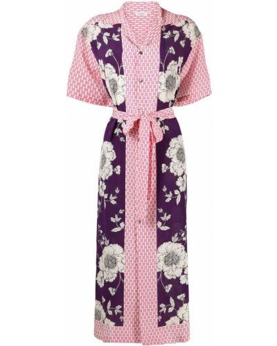 Фиолетовое шелковое платье миди на пуговицах P.a.r.o.s.h.